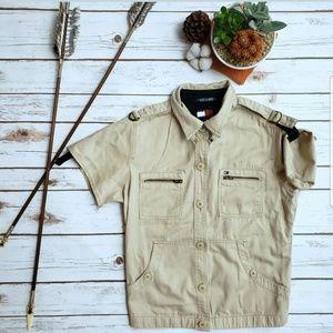 Tommy Hilfiger Safari Shirt Junior L Button Up Vtg